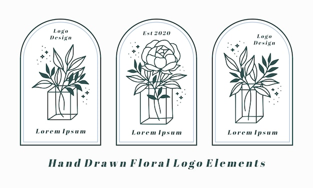 Dibujado a mano elementos de logotipo femenino con flor de peonía y rama de hoja