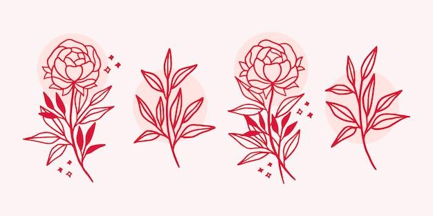 Dibujado a mano elementos de logotipo de flor botánica