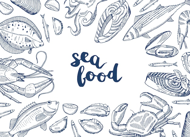 Dibujado a mano elementos de mariscos reunidos alrededor de letras
