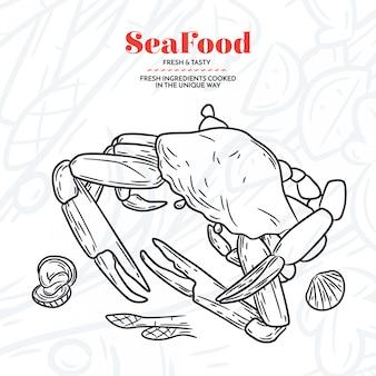 Dibujado a mano elementos de mariscos