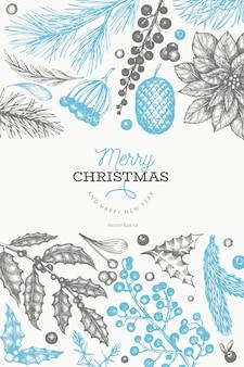 Dibujado a mano elementos de navidad y año nuevo