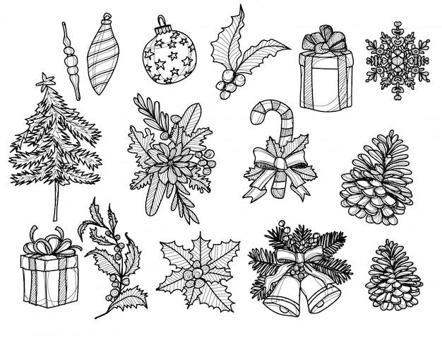 Dibujado a mano elementos de navidad, regalo, bastón de caramelo, boceto de cono de pino en blanco y negro