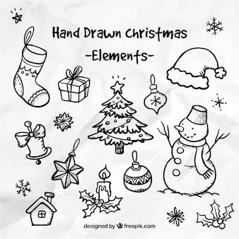 Dibujado a mano elementos de la navidad