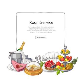 Dibujado a mano de elementos de servicio de restaurante o habitación