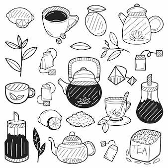 Dibujado a mano elementos de té