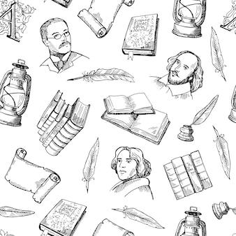 Dibujado a mano elementos del teatro patrón o ilustración