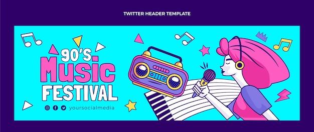 Dibujado a mano encabezado de twitter del festival de música nostálgico de los 90