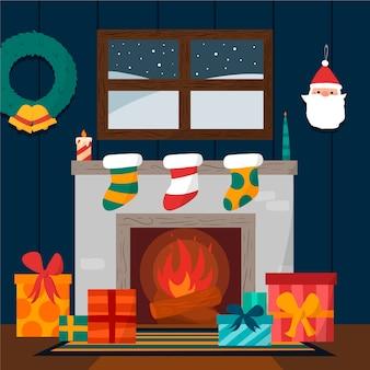 Dibujado a mano escena de chimenea de navidad