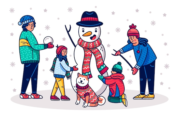 Dibujado a mano escena familiar de navidad