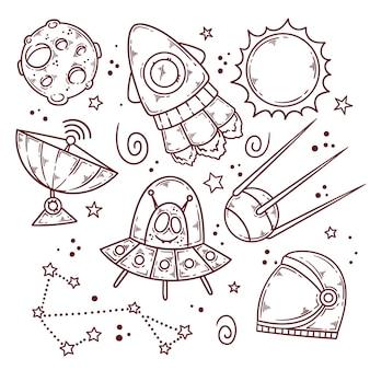 Dibujado a mano espacio exterior doodle