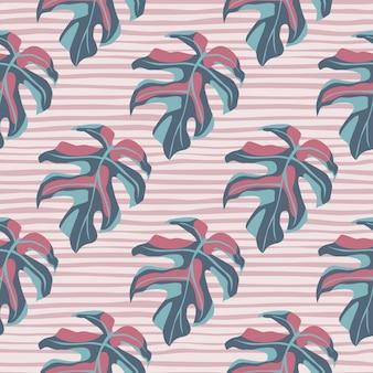 Dibujado a mano estilizada sin fisuras patrón monstera. siluetas de hojas simples en tonos pastel azul y rosa sobre fondo de rayas claras.