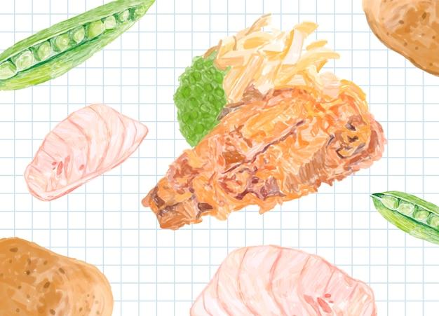 Dibujado a mano estilo acuarela de pescado y papas fritas