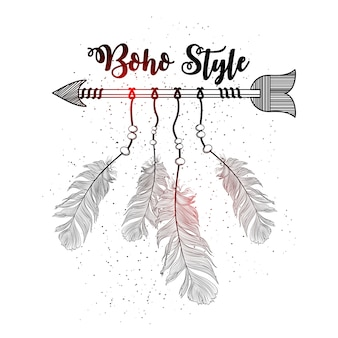 Dibujado a mano estilo boho de flecha decorativa con plumas