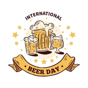 Dibujado a mano estilo día internacional de la cerveza