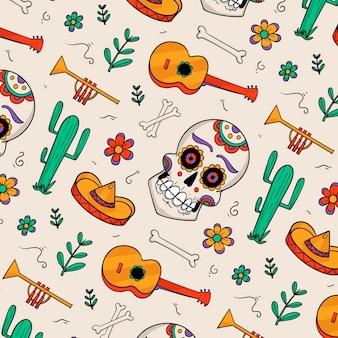 Dibujado a mano estilo día de los muertos patrón