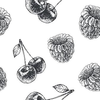 Dibujado a mano estilo de grabado patrón de fruta transparente en blanco y negro. pera, manzana, cerezas, tela de frambuesa, papel, fondo.
