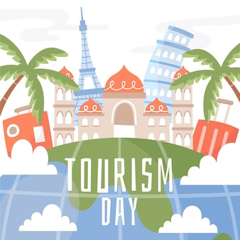 Dibujado a mano estilo de ilustración del día mundial del turismo