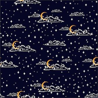 Dibujado a mano estilo nocturno rasguño cielo con luna y nubes espacio, entre estrellas vector de patrones sin fisuras, diseño para moda, tela, papel tapiz, envoltura y todas las impresiones