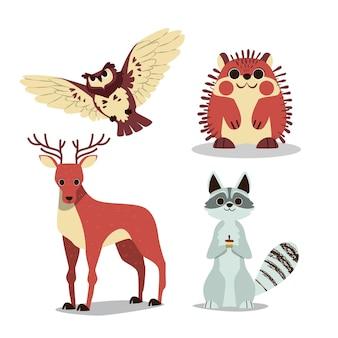 Dibujado a mano estilo otoño bosque animales