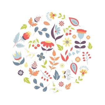 Dibujado a mano estilo verano o primavera floral