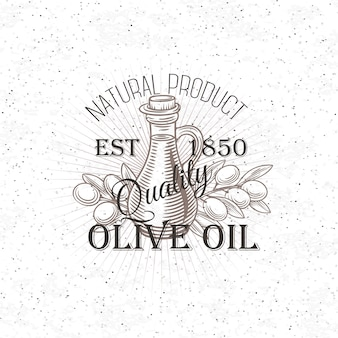 Dibujado a mano etiqueta de aceite de oliva.