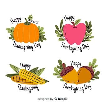 Dibujado a mano etiquetas de acción de gracias con verduras