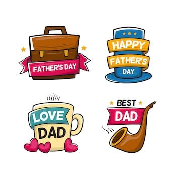 Dibujado a mano etiquetas del día del padre