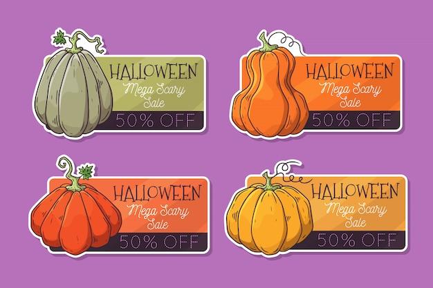 Dibujado a mano etiquetas de halloween con calabazas.