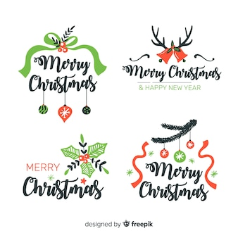 Dibujado a mano etiquetas navideñas con cintas