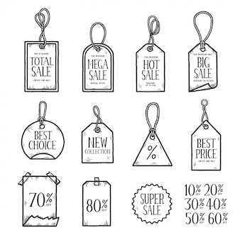 Dibujado a mano etiquetas de ventas conjunto de doodle. ilustración vintage vector