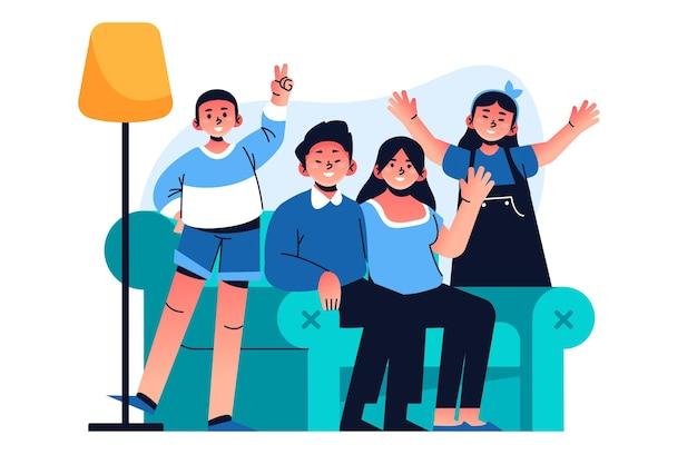 Dibujado a mano familia en el sofá ilustración