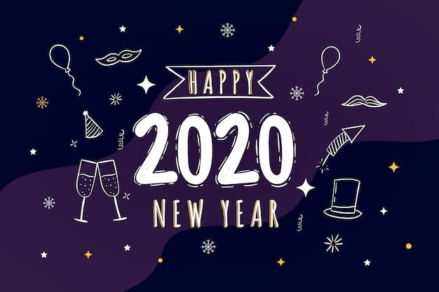 Dibujado a mano feliz año nuevo 2020