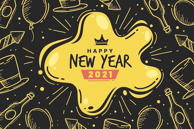 Dibujado a mano feliz año nuevo 2021 doodles dorados