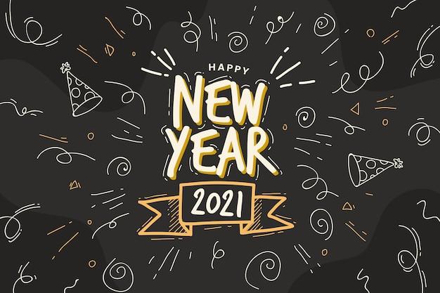 Dibujado a mano feliz año nuevo 2021