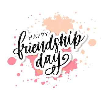 Dibujado a mano feliz día de la amistad letras