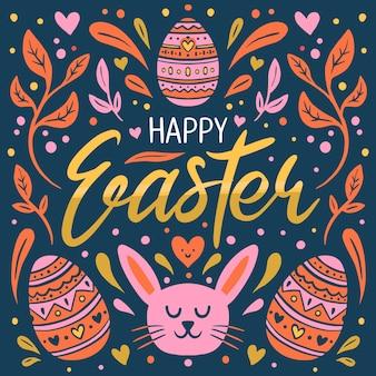 Dibujado a mano feliz día de pascua con cara de conejo y huevos