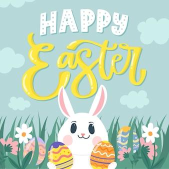 Dibujado a mano feliz día de pascua smiley bunny