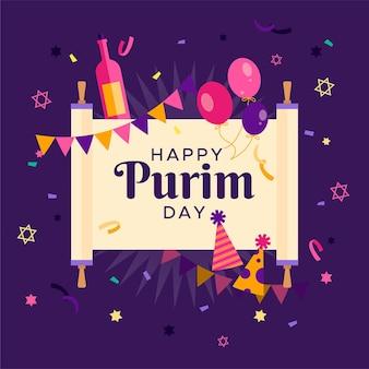 Dibujado a mano feliz día de purim con confeti
