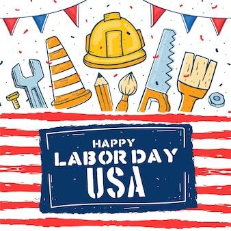 Dibujado a mano feliz día del trabajo de estados unidos
