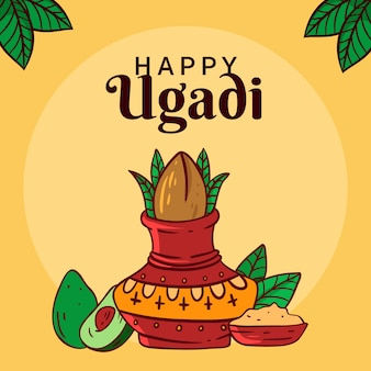 Dibujado a mano feliz día de ugadi