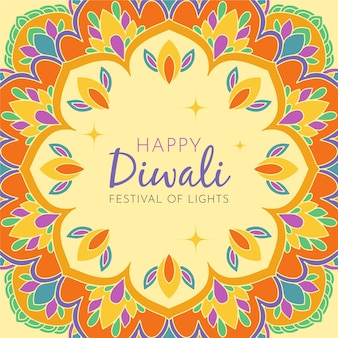 Dibujado a mano feliz diwali con flores de colores cálidos