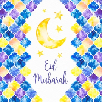 Dibujado a mano feliz eid mubarak luna y estrellas