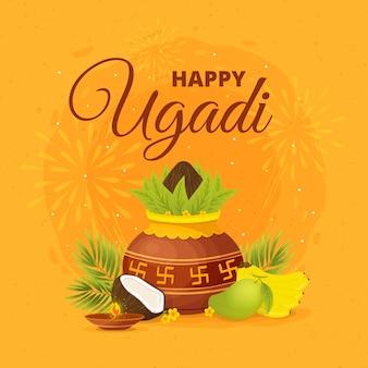 Dibujado a mano feliz festival de ugadi