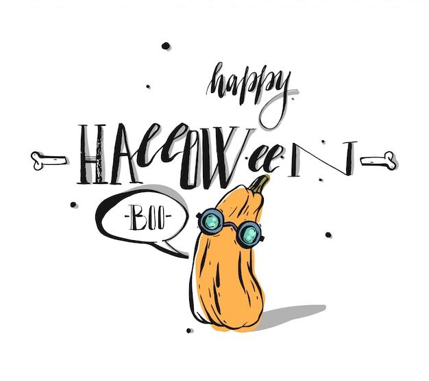 Dibujado a mano feliz halloween tarjeta de felicitación caligrafía. banner de halloween o cartel con lindo personaje de calabaza sobre fondo blanco.
