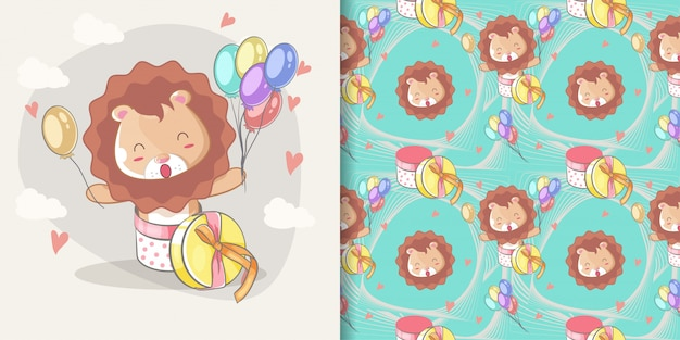 Dibujado a mano feliz lindo león con globos y conjunto de patrones