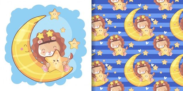 Dibujado a mano feliz lindo león con luna y conjunto de patrones