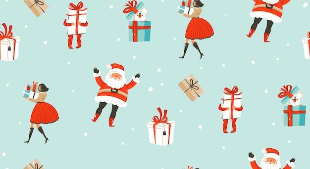 Dibujado a mano, feliz navidad, elementos de patrones sin fisuras.