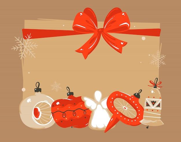 Dibujado a mano feliz navidad y feliz año nuevo ilustraciones de coon de tiempo saludo plantilla de encabezado con juguetes de adorno de árbol de navidad y lugar para el texto sobre fondo marrón