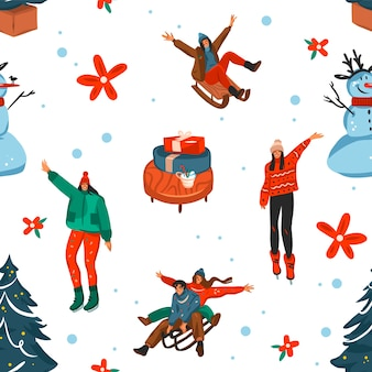 Dibujado a mano feliz navidad y feliz año nuevo tiempo de dibujos animados festivo de patrones sin fisuras