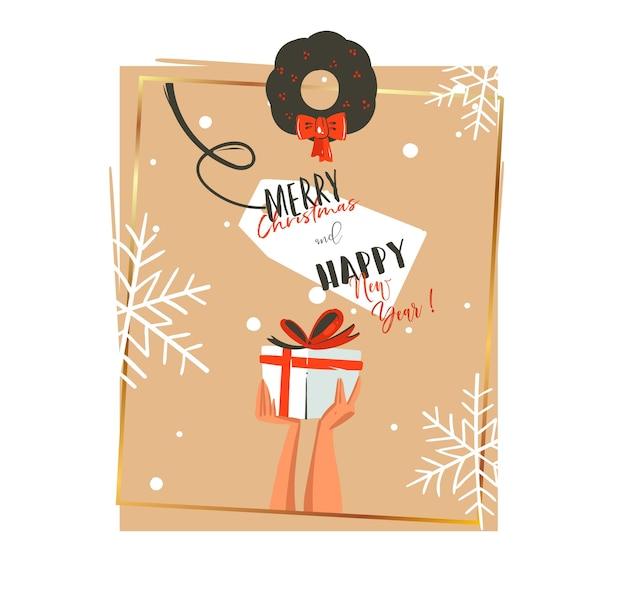 Dibujado a mano feliz navidad y feliz año nuevo tiempo ilustraciones de dibujos animados plantilla de tarjeta de felicitación con manos sosteniendo presente aislado